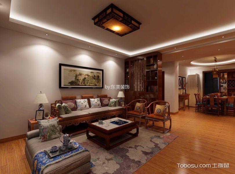 客厅咖啡色茶几中式风格装潢效果图