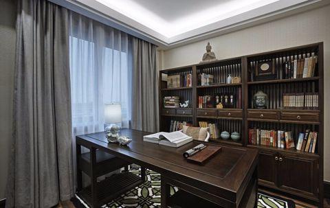 书房灰色窗帘装饰实景图片
