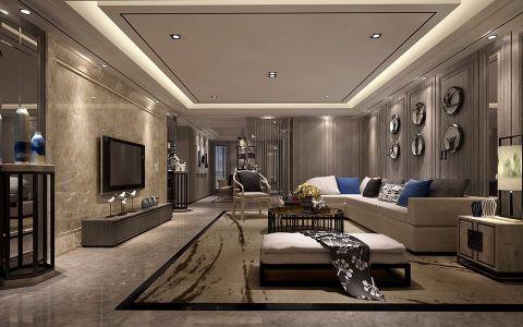客厅吊顶现代中式风格装潢效果图