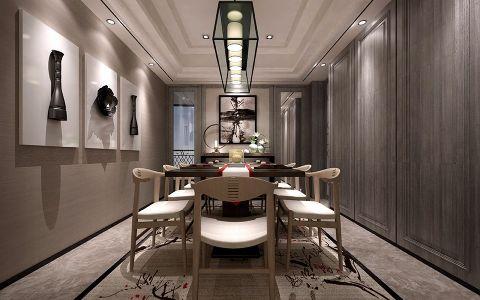 餐厅吊顶现代中式风格装饰图片