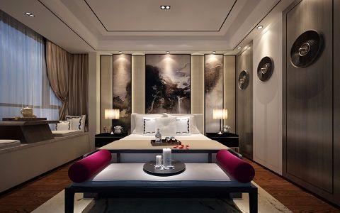 卧室飘窗现代中式风格装潢图片