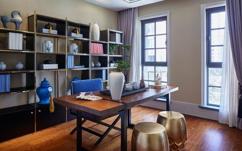 书房窗帘中式风格装饰设计图片