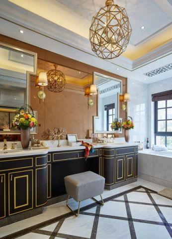 卫生间背景墙中式风格装潢设计图片
