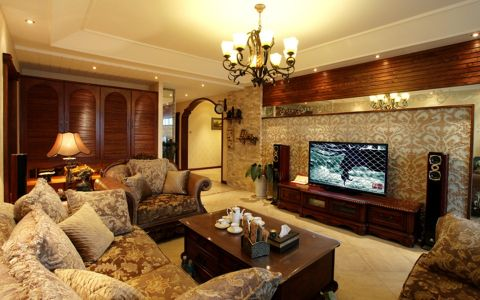 美式风格177平米三室两厅新房装修效果图