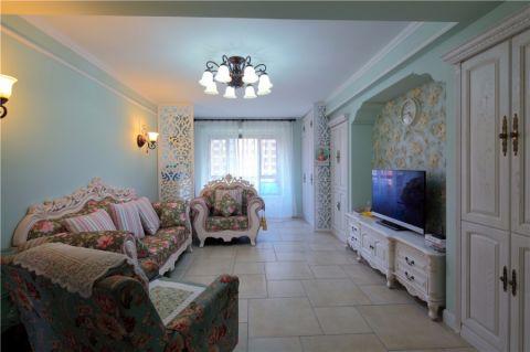 客厅白色电视柜简欧风格装饰设计图片