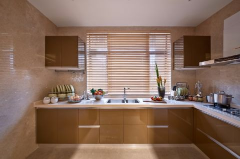厨房咖啡色橱柜现代风格效果图