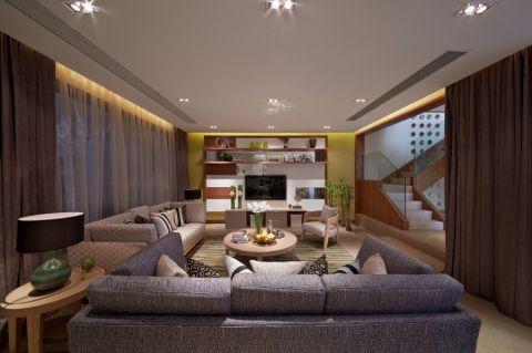 客厅咖啡色窗帘现代风格装修效果图