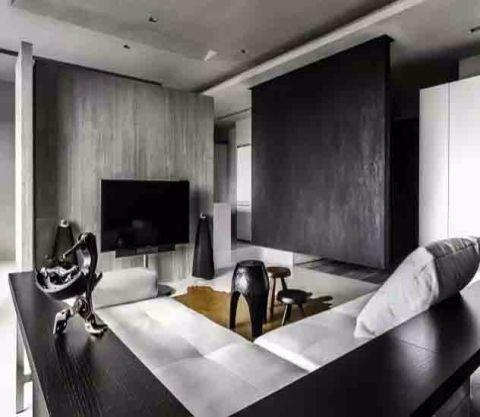 客厅黑色茶几现代风格装潢设计图片