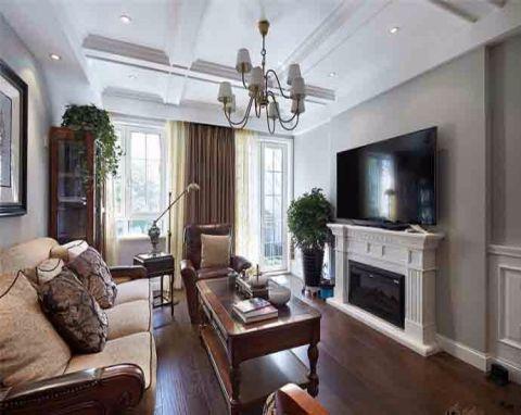 客厅白色吊顶美式风格装潢效果图