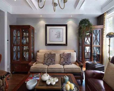 客厅咖啡色沙发美式风格装饰图片
