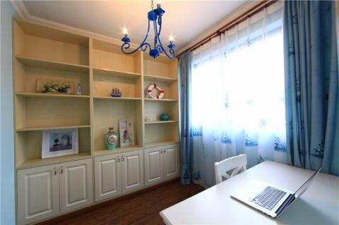 书房蓝色窗帘现代简约风格装饰设计图片