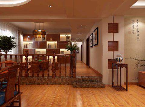 玄关咖啡色走廊中式风格装潢设计图片