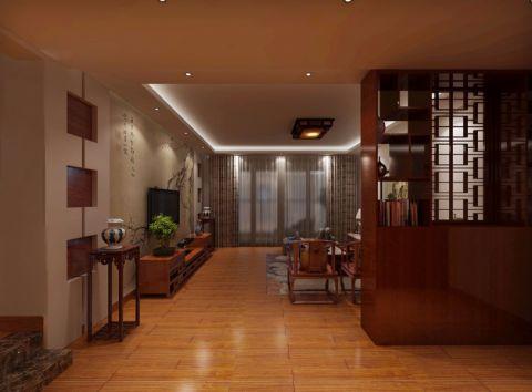 客厅咖啡色隔断中式风格效果图