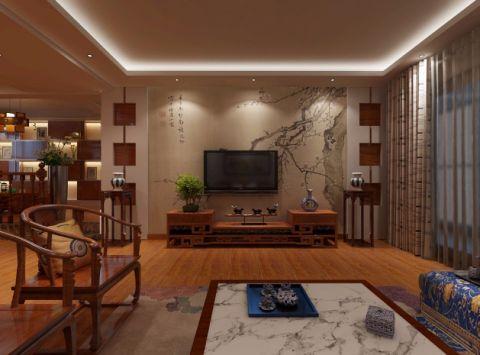 客厅咖啡色电视柜中式风格装修效果图