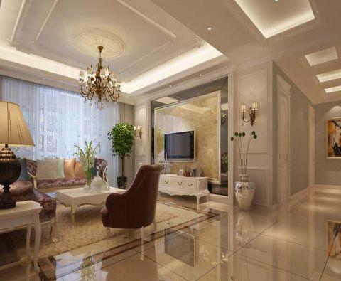 客厅白色吊顶简欧风格装饰设计图片