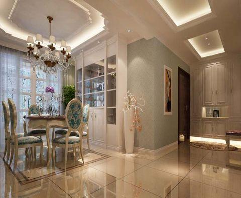 餐厅白色吊顶简欧风格装潢设计图片