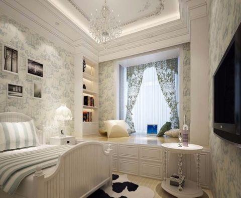卧室彩色窗帘简欧风格效果图