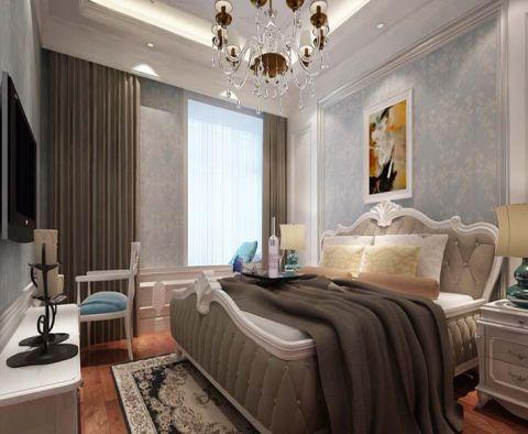 卧室咖啡色窗帘简欧风格装修效果图