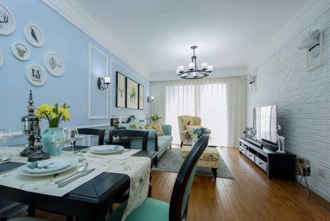 美式风格103平米三室两厅新房装修效果图