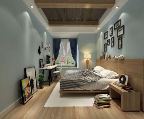 卧室蓝色照片墙美式风格效果图