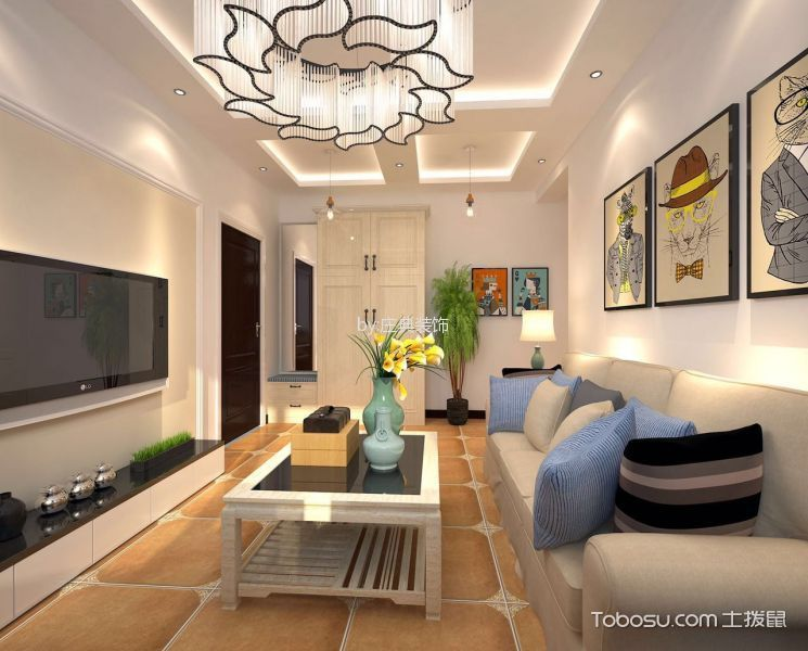 蓝色港湾 100平米现代简约风格 两室的效果图