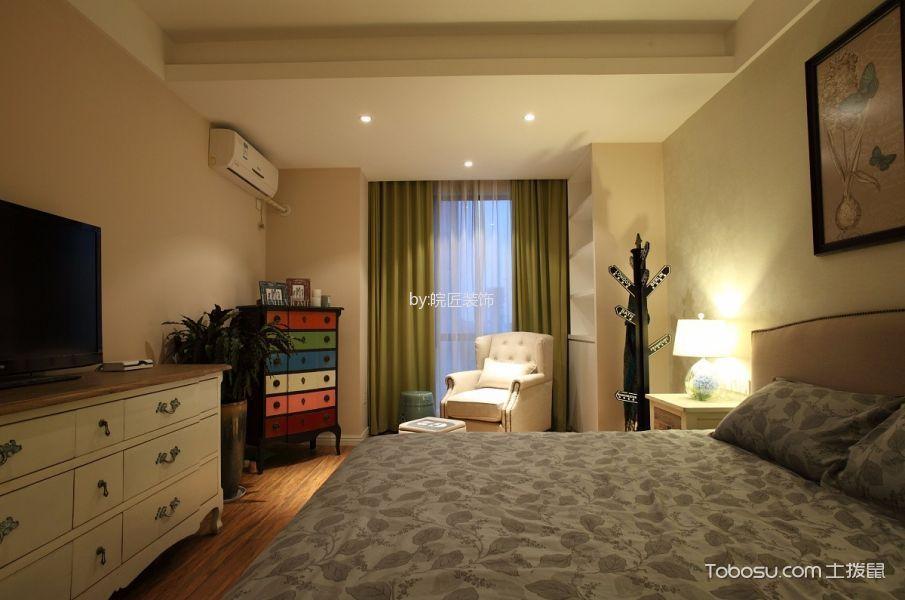 卧室白色电视柜美式风格装修设计图片