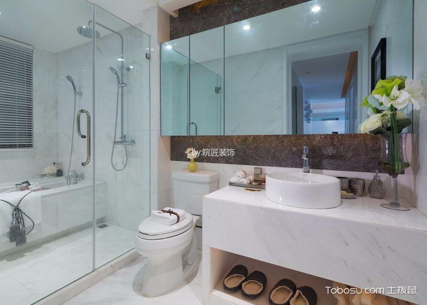 卫生间白色洗漱台简约风格装潢图片