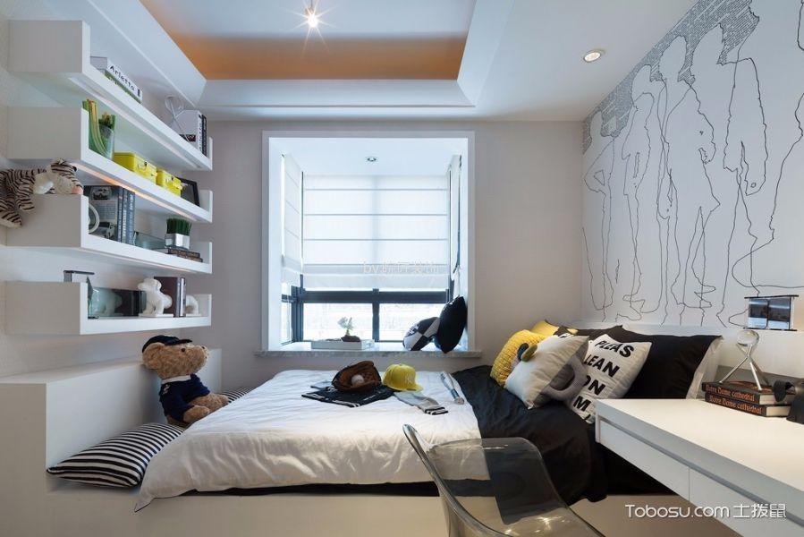 卧室白色窗帘简约风格装修设计图片