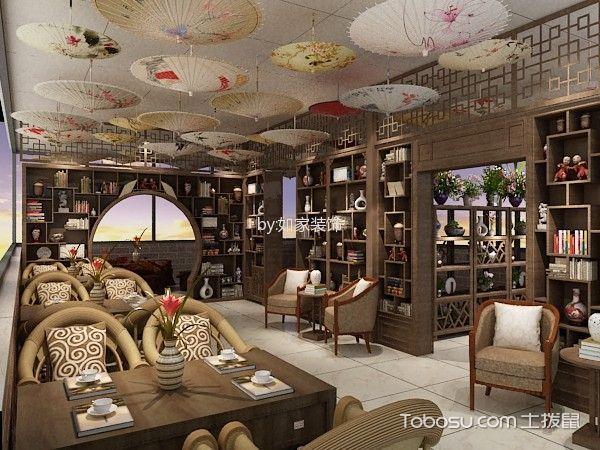 客厅咖啡色博古架中式风格装潢设计图片