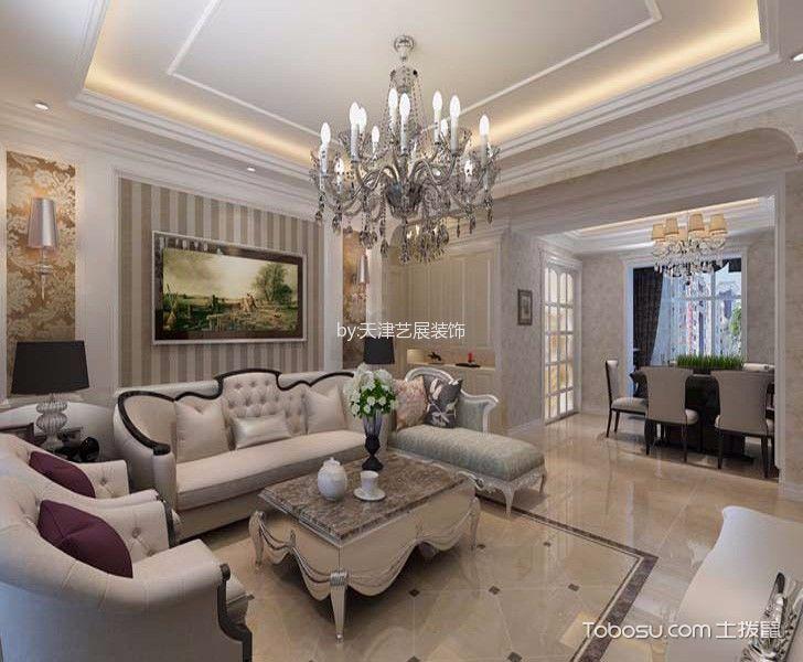 客厅白色茶几简欧风格装潢设计图片