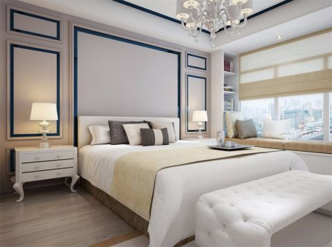 卧室白色床现代简约风格装潢效果图