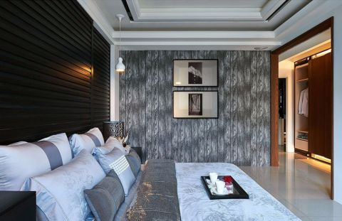 卧室灰色照片墙北欧风格装潢图片