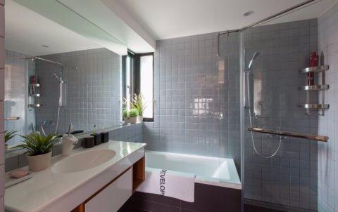 卫生间灰色背景墙北欧风格装饰图片