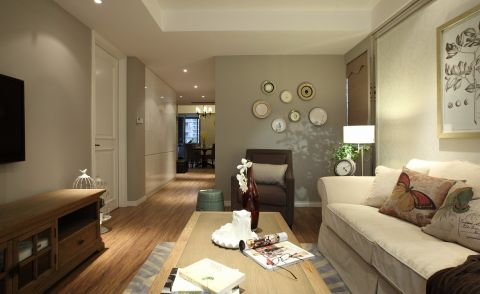 客厅白色沙发美式风格装饰图片