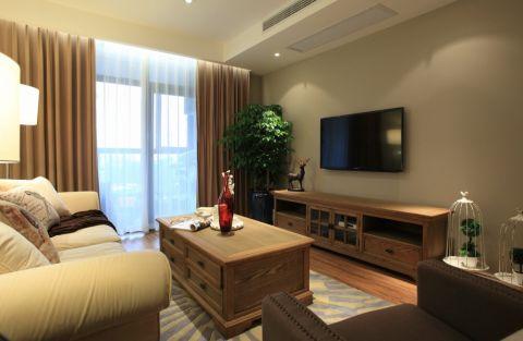 客厅橙色窗帘美式风格装饰设计图片