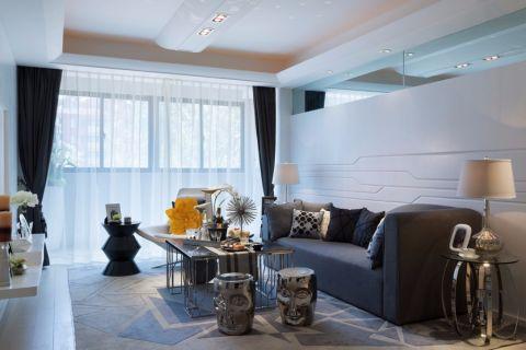 客厅咖啡色窗帘简约风格装饰图片