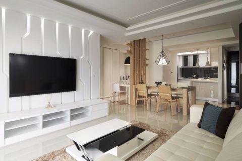 客厅白色茶几现代风格装饰图片
