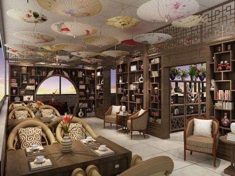 客厅博古架中式风格装潢设计图片