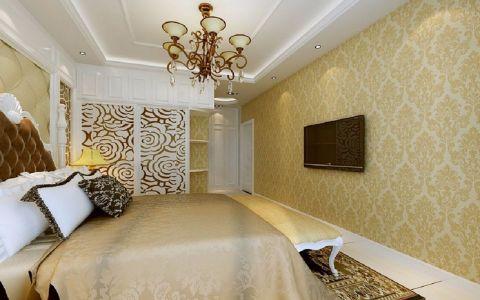 卧室黄色背景墙欧式风格装潢效果图
