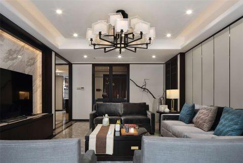 新中式风格126平米三室两厅新房装修效果图