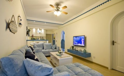 地中海风格100平米三室两厅新房装修效果图