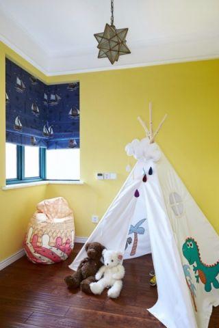 儿童房背景墙美式风格装修图片