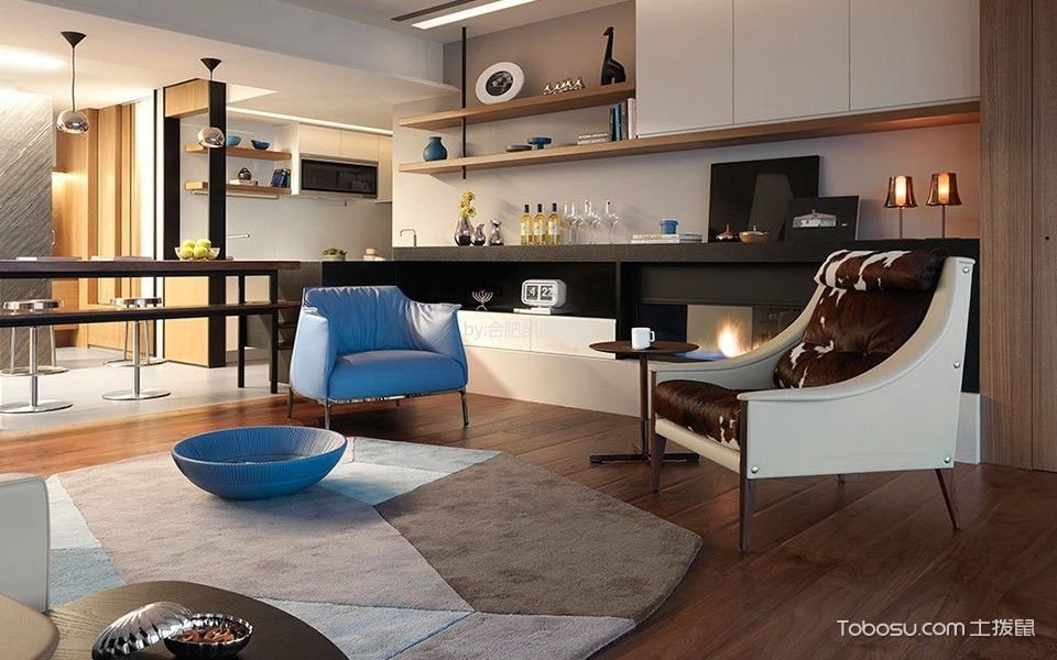 客厅咖啡色地板砖现代风格装饰设计图片