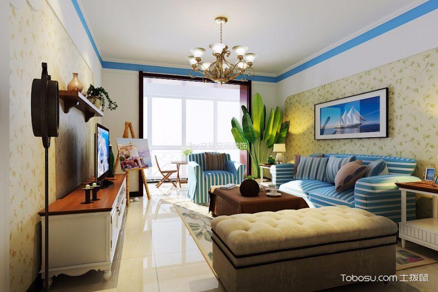 水榭花都90平米地中海风格两居室装修设计