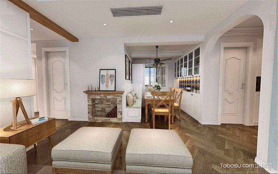 餐厅咖啡色地板砖美式风格装饰设计图片