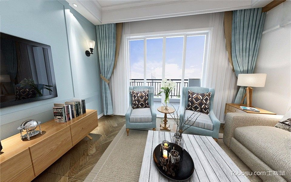美式风格130平米三室两厅新房装修效果图