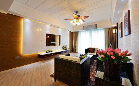 东南亚风格130平米三室两厅新房装修效果图