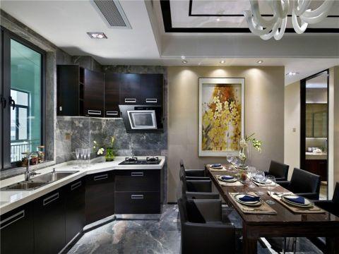 厨房吧台新中式风格装潢效果图