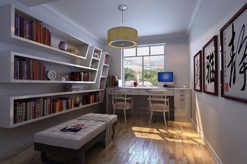 书房背景墙现代风格装潢设计图片