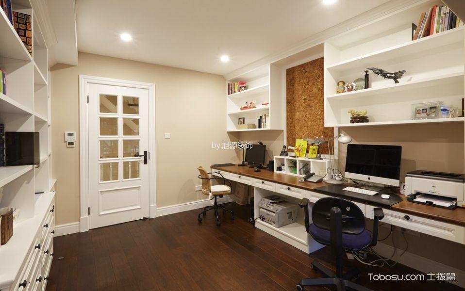 书房咖啡色地板砖美式风格装饰效果图